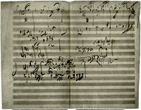 Page of manuscript from Beethoven Opus 101. Public domain