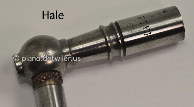 Detail of Hale piano tuning lever head